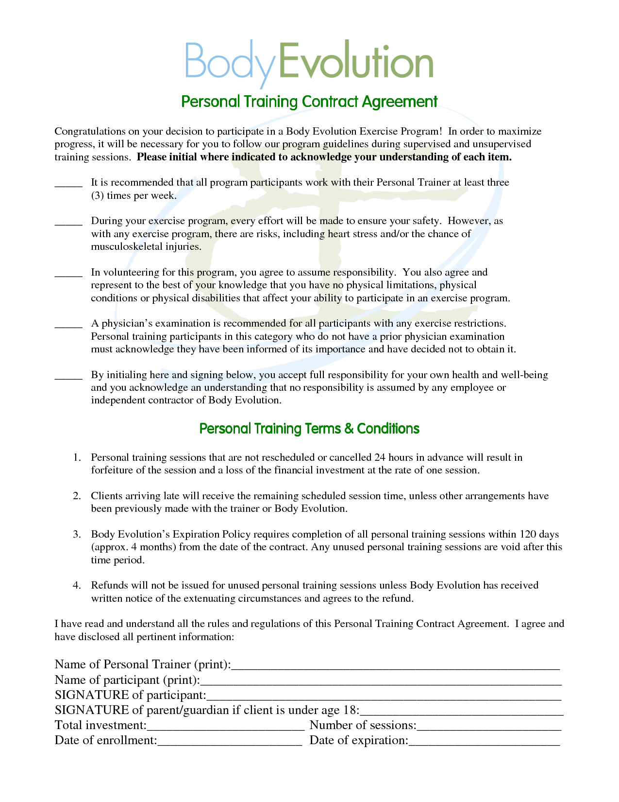 Personal Trainer Contract Agreement Free Printable Documents