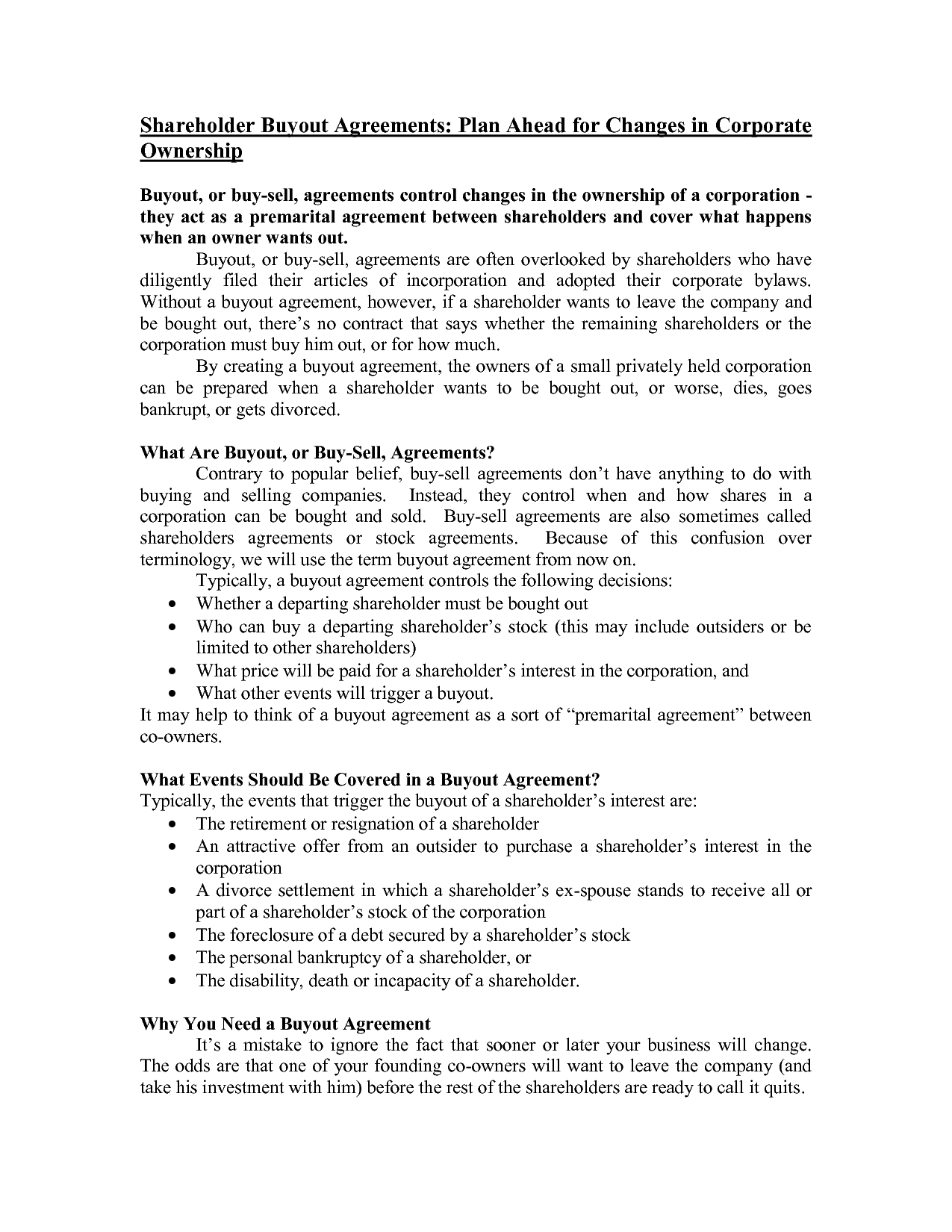 Business Buyout Agreement Free Printable Documents