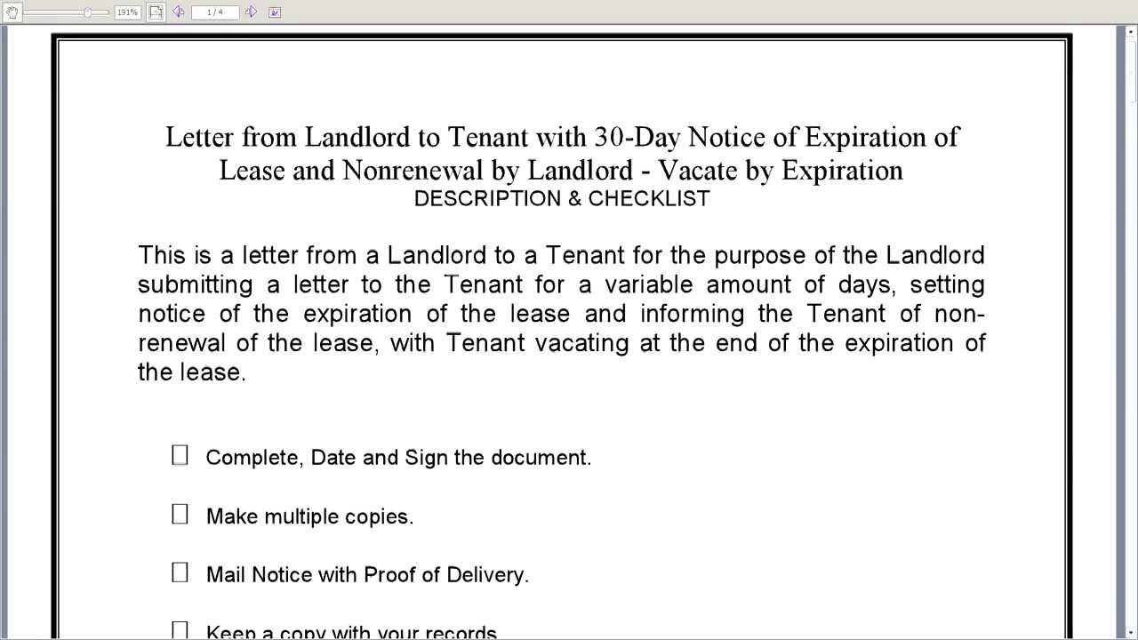 Notice Of Lease Non Renewal Free Printable Documents