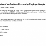 Sample Income Verification Letter