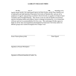 Sample Liability Release Form Template
