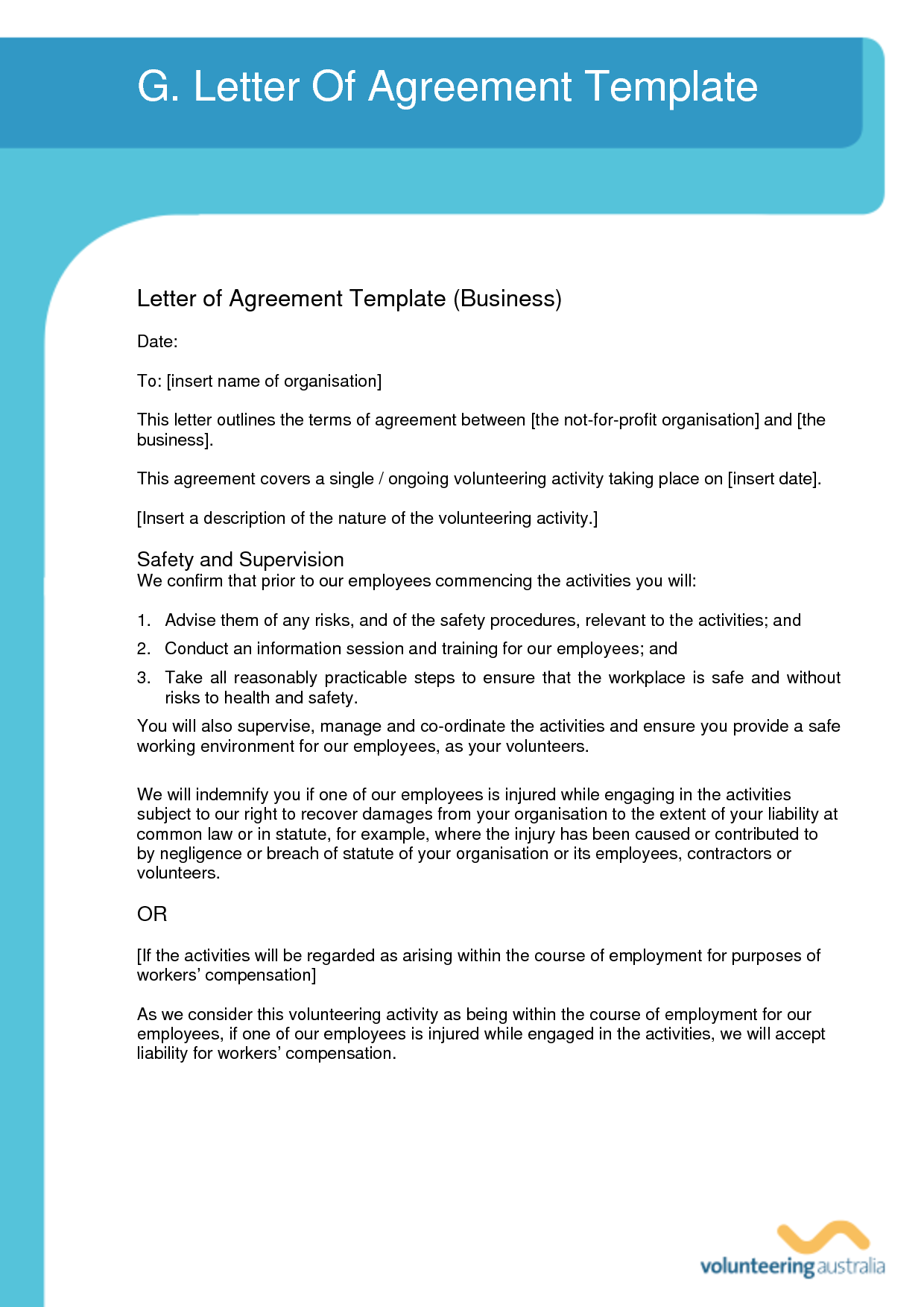 agreement letter template