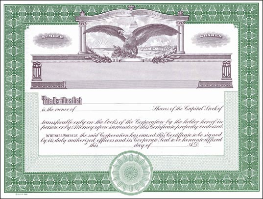 Auto Bill Of Sale Template >> Blank Stock Certificates - Free Printable Documents