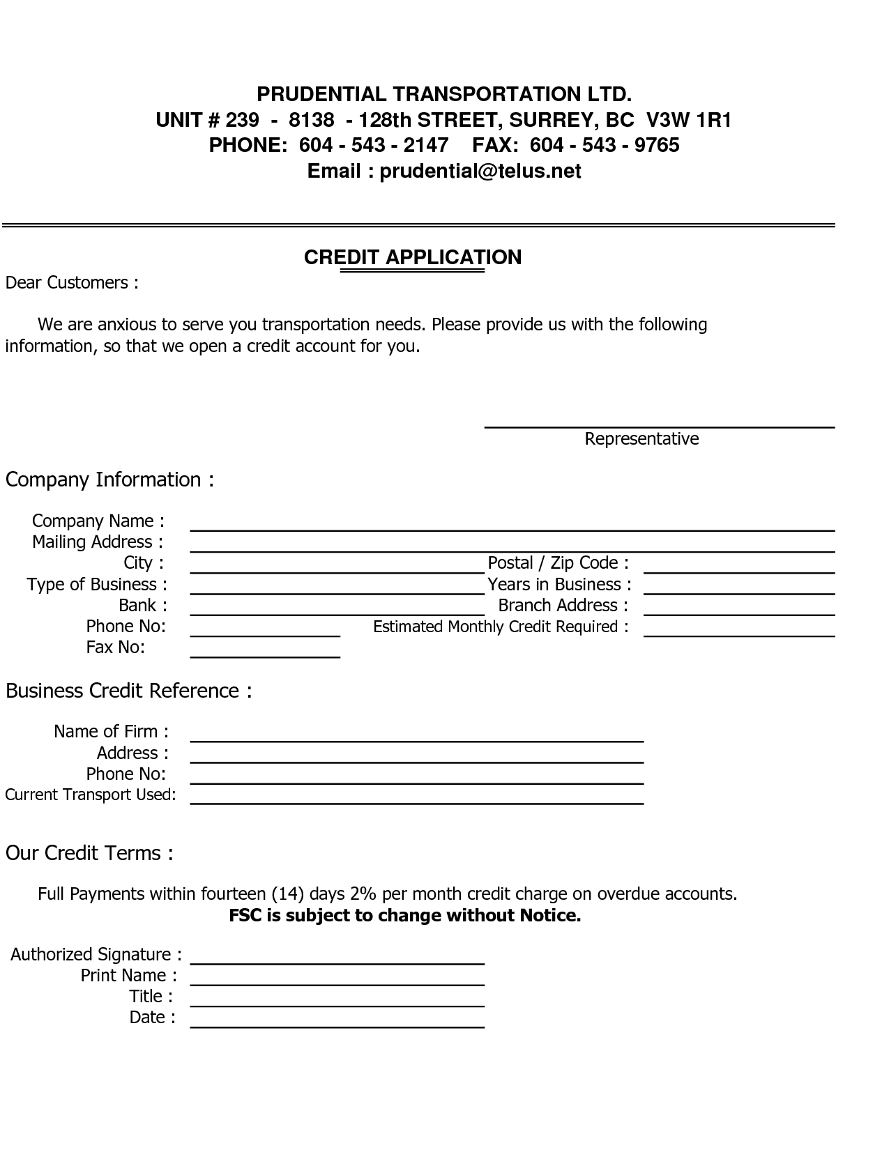 credit applications templates - business credit reference template free printable documents