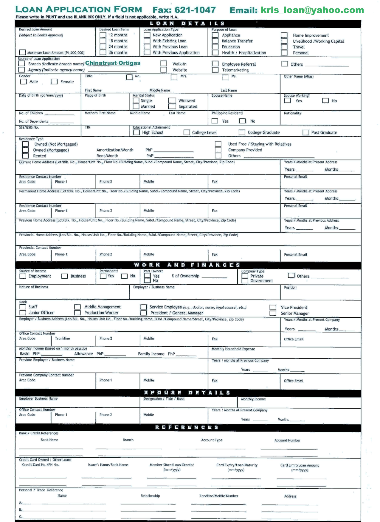 Business Loan Application Form - Free Printable Documents
