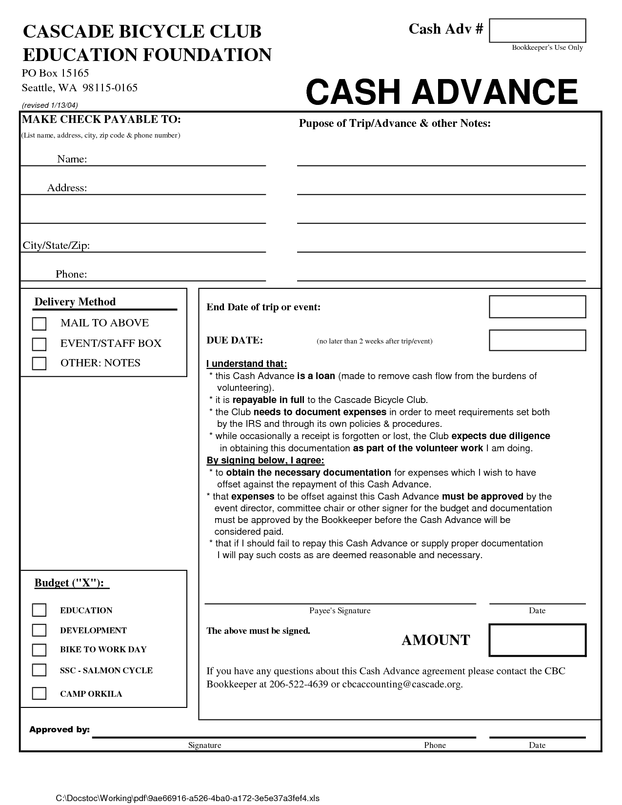 cash loan agreement form