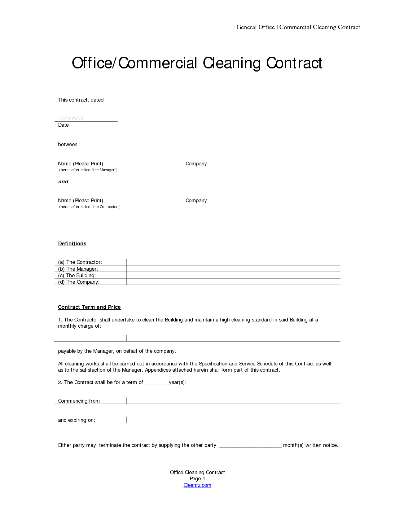 cleaning contract template free printable documents. Black Bedroom Furniture Sets. Home Design Ideas