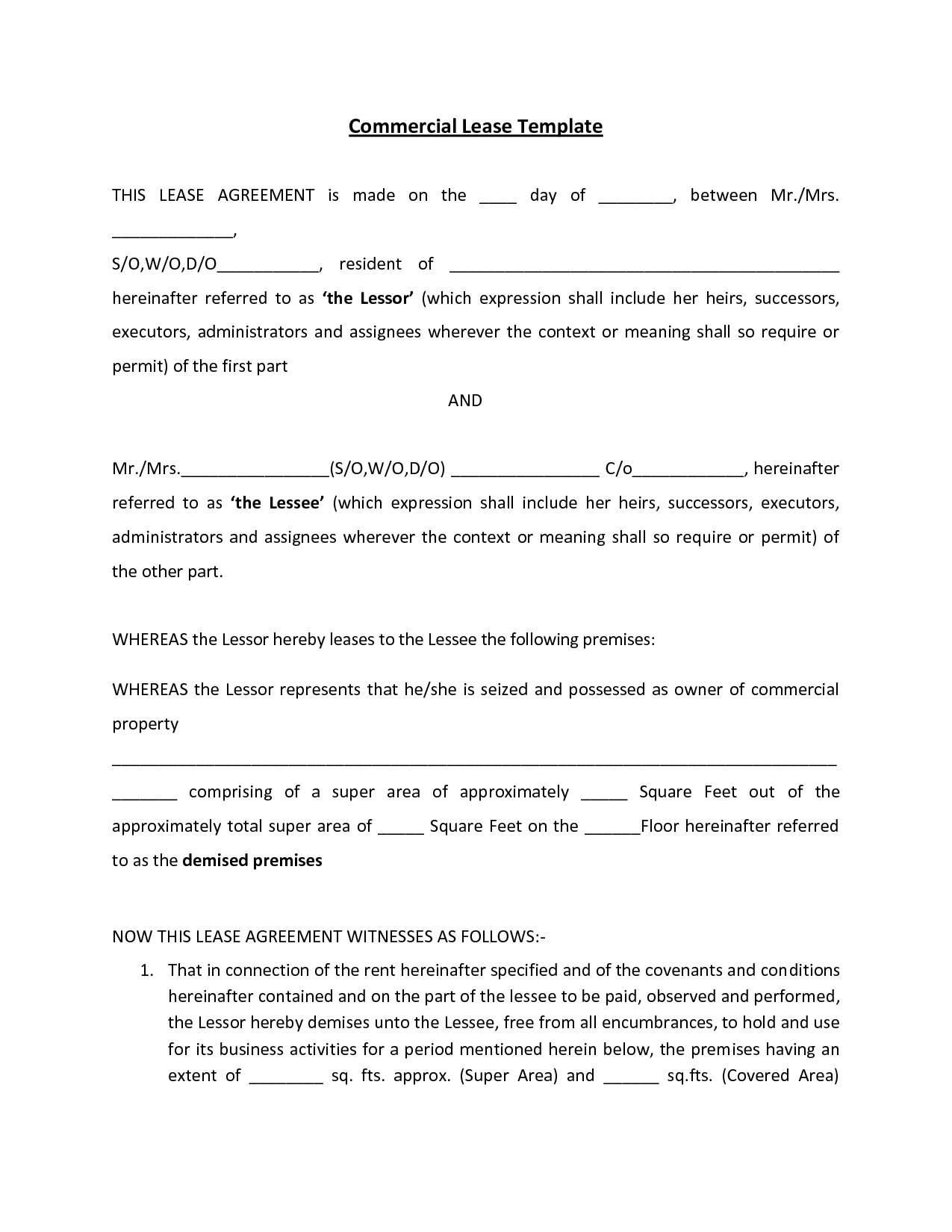 Mercial Lease Agreement Free Printable Documents
