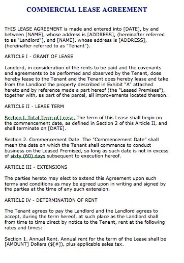 Commercial Lease Agreement Sample Free Printable Documents