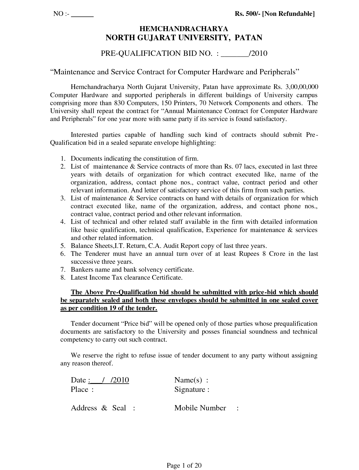 Puter Maintenance Contract Sample Free Printable