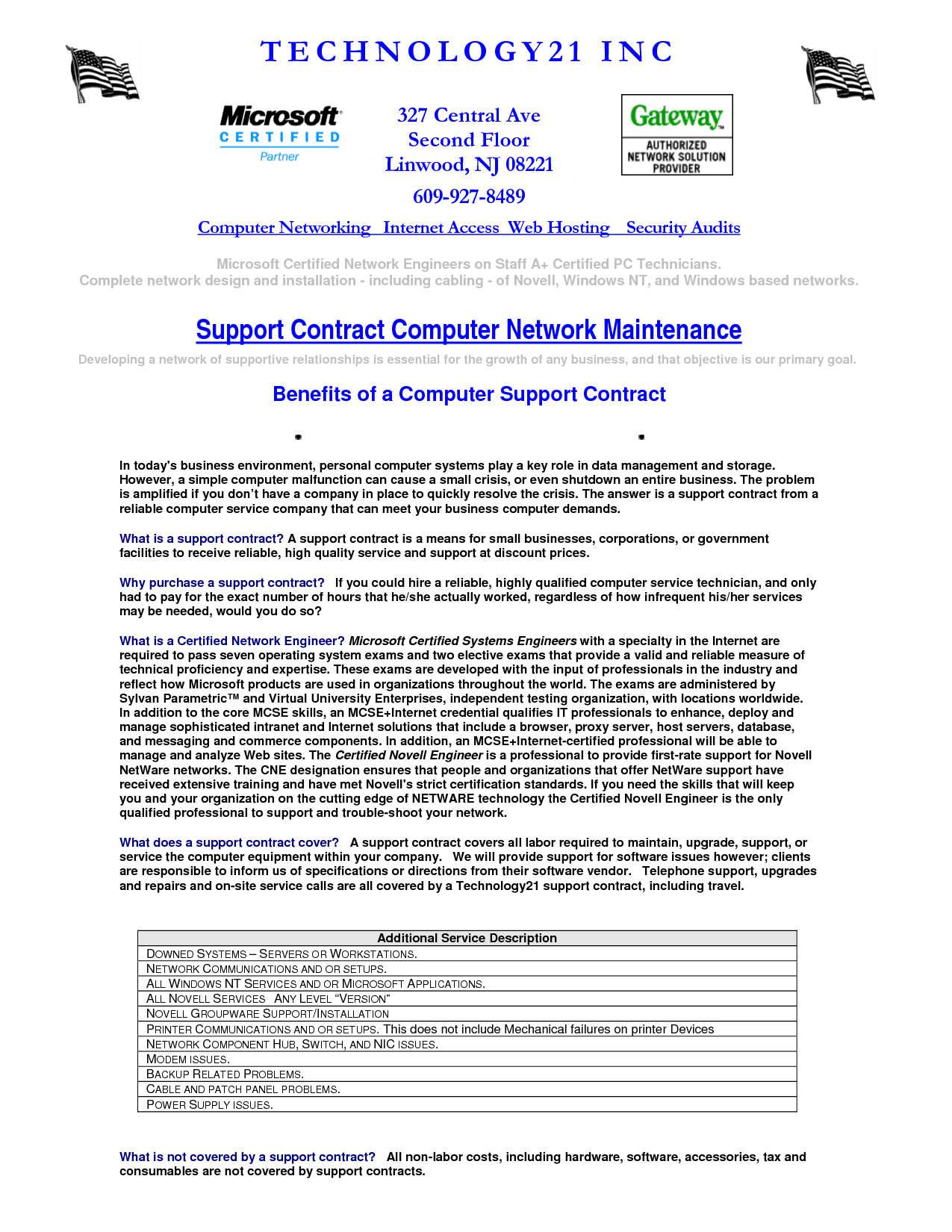 Computer maintenance contract sample free printable for Pool service contract template