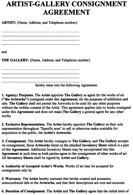 Consignment Agreement Template Free Printable Documents