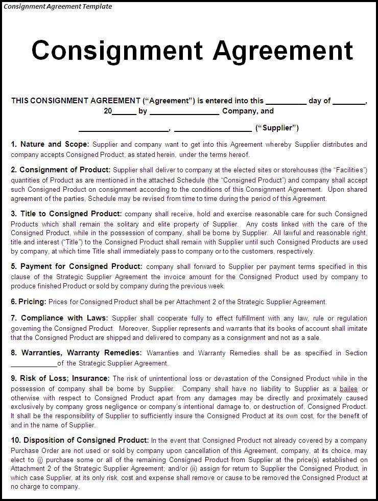 Consignment Contract Template Free Printable Documents