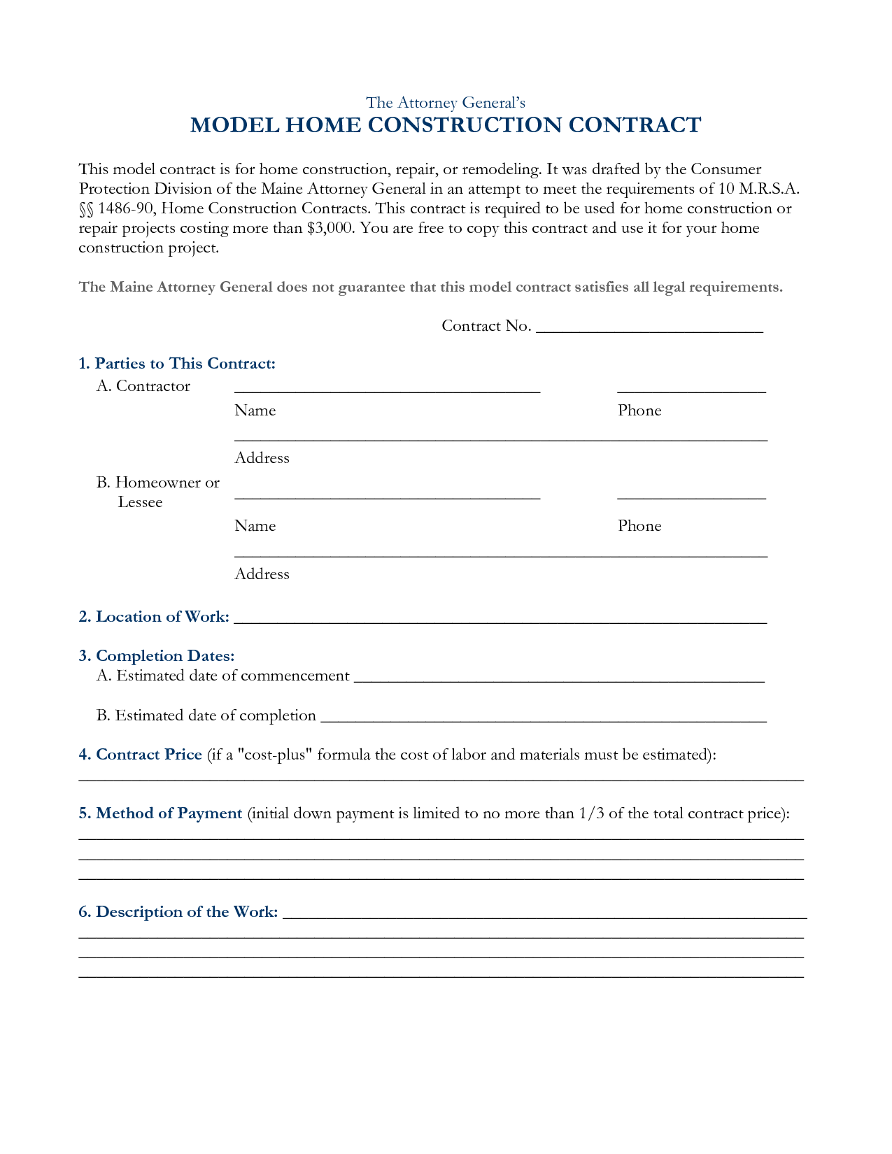 Construction Contract Template Free Printable Documents