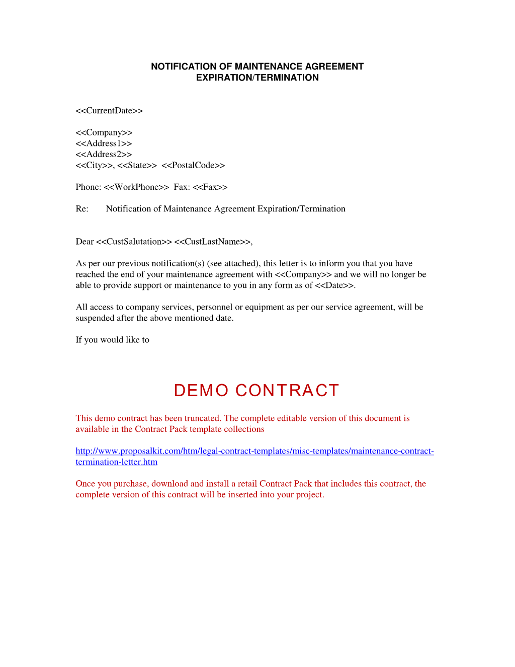Contract Cancellation Form
