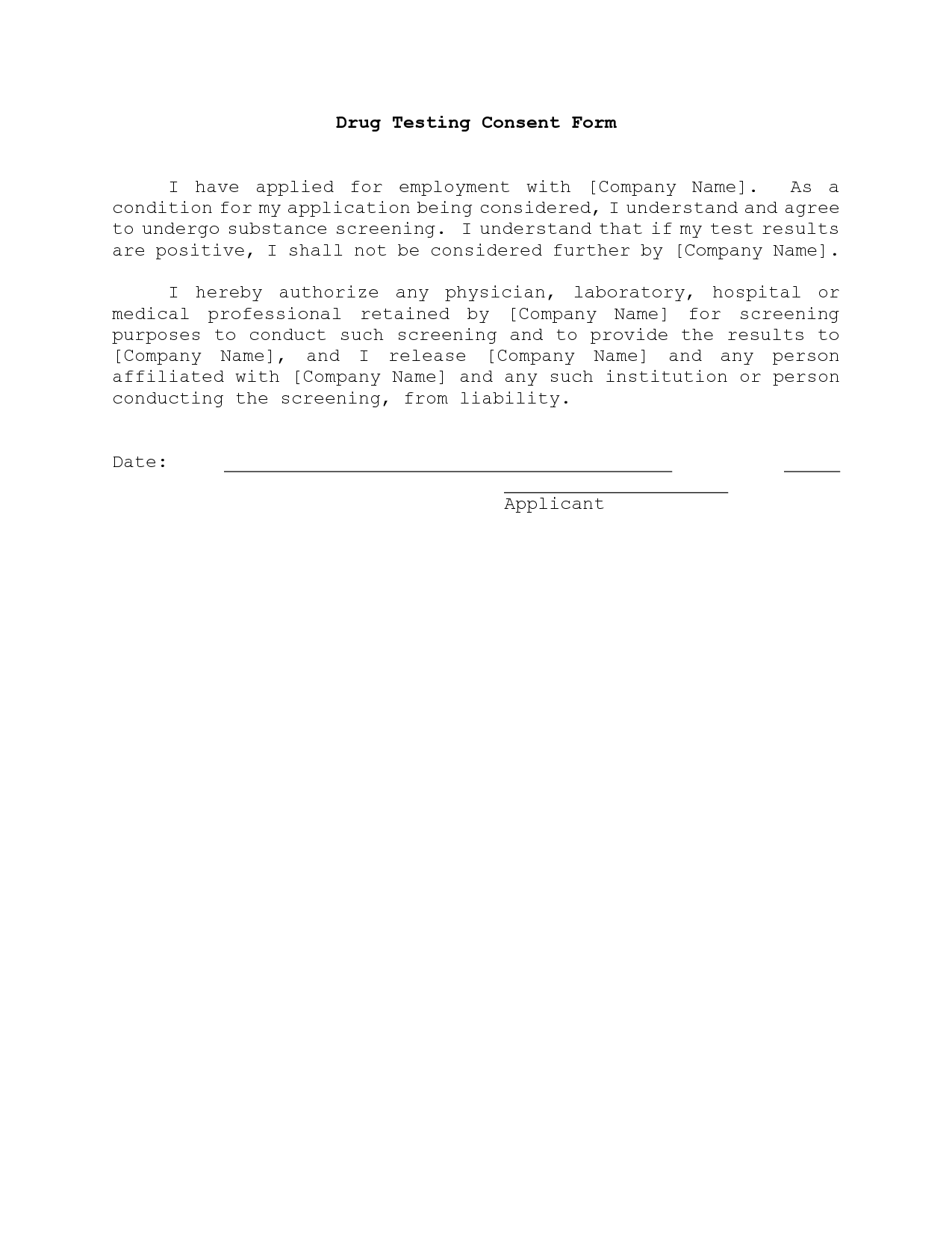 drug test consent form