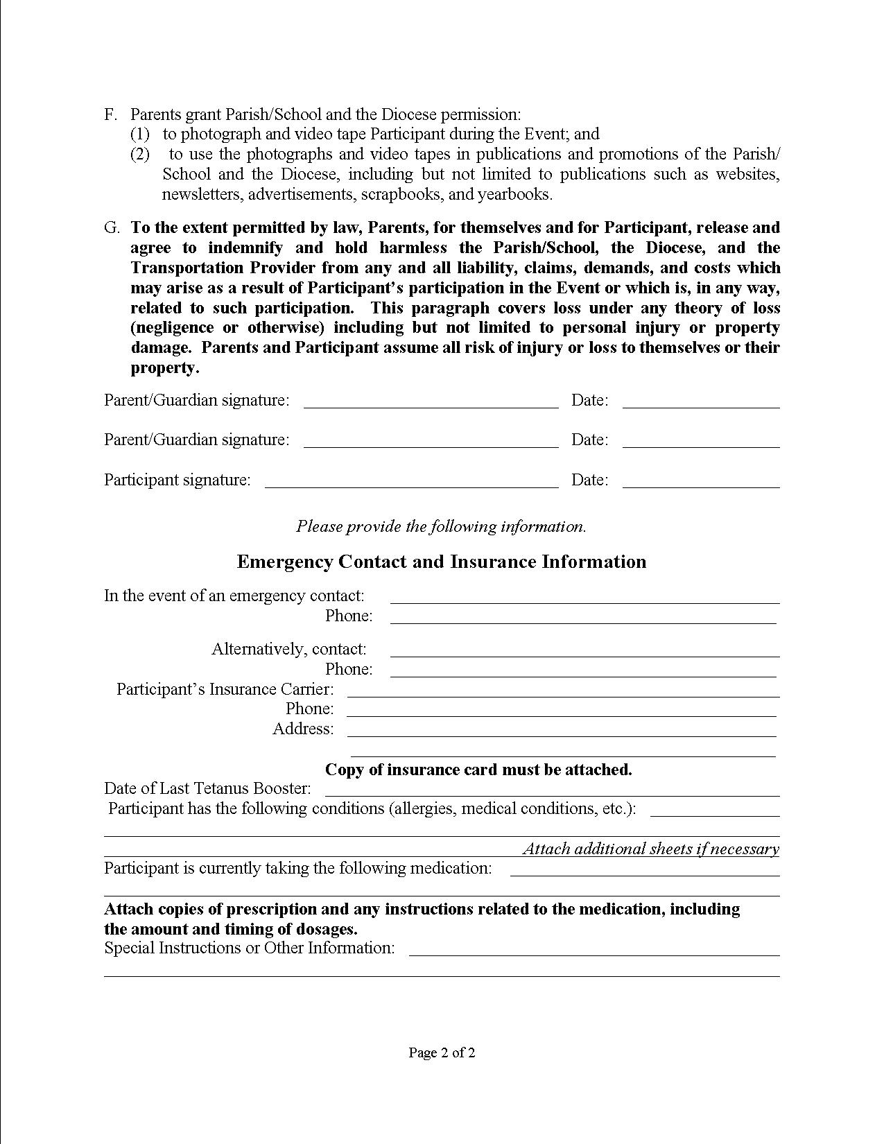 Emergency medical consent form free printable documents for Parental medical consent form template