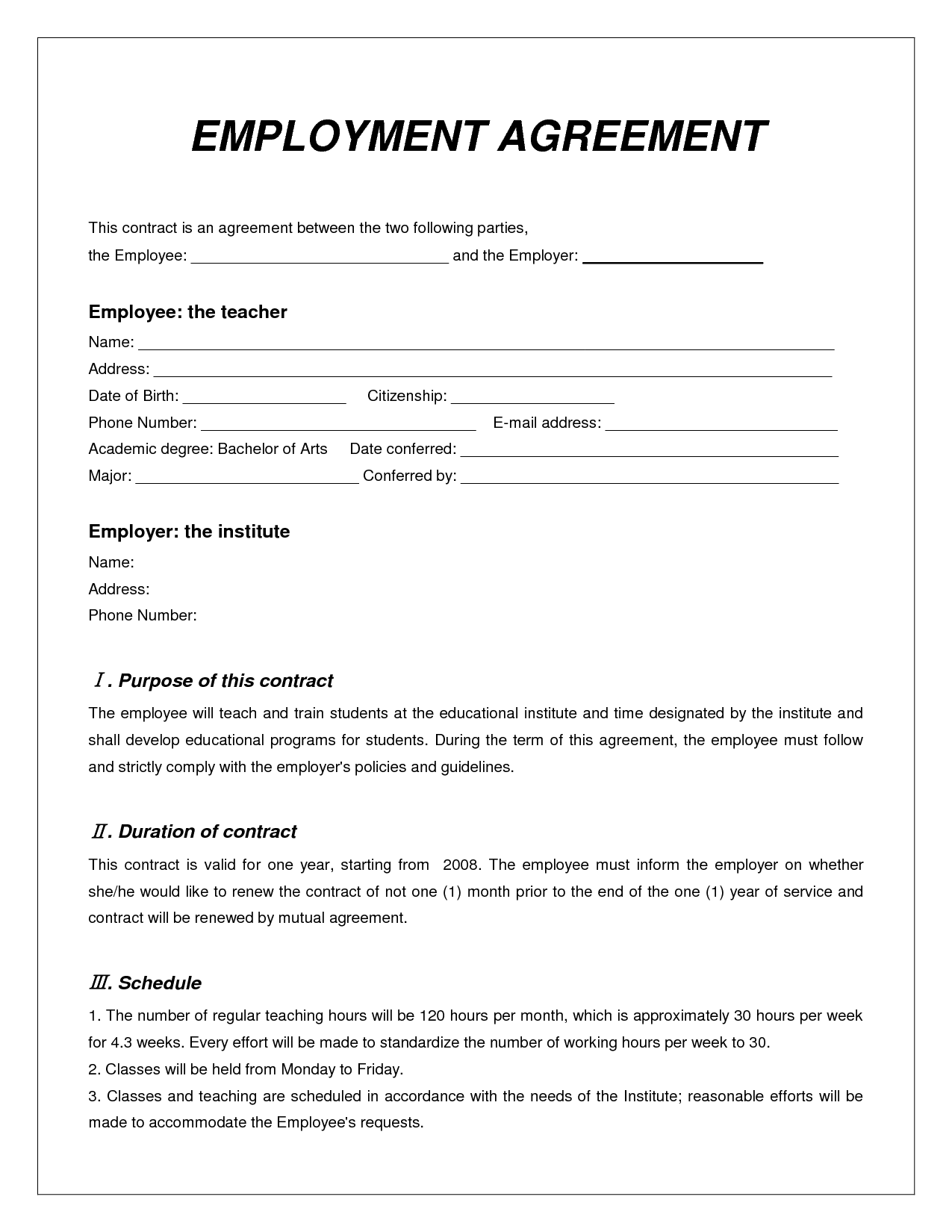 employment agreement contract template free printable. Black Bedroom Furniture Sets. Home Design Ideas