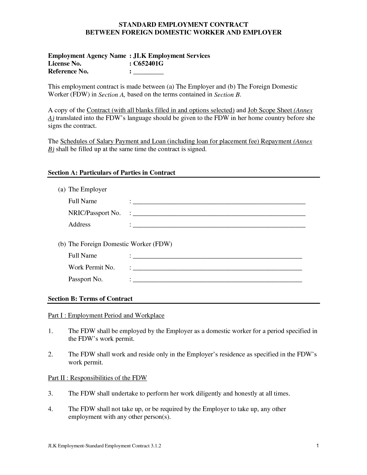 contract of employment template pdf