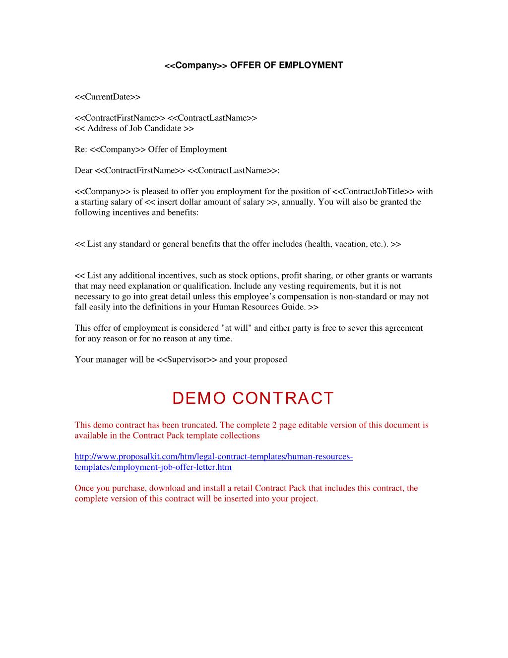 employment offer letter