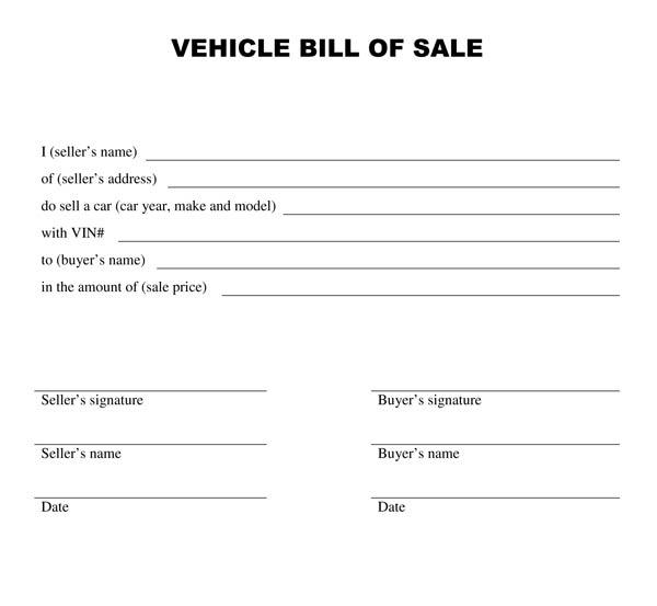 Bill Of Sale Example >> Example Of A Bill Of Sale Free Printable Documents