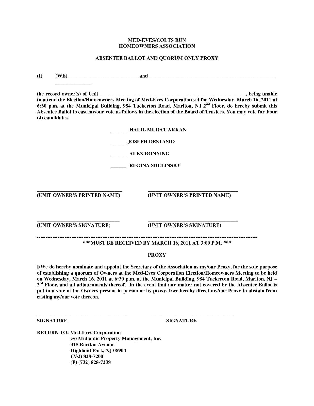 Hoa Proxy Form Template Free Printable Documents