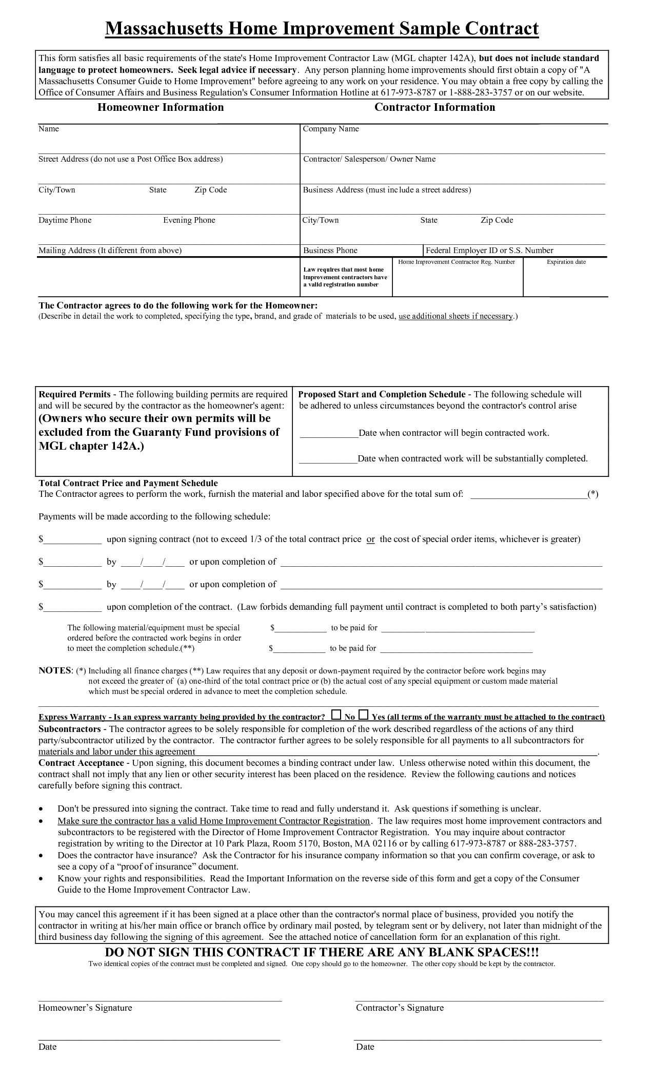 Free loan agreement contract