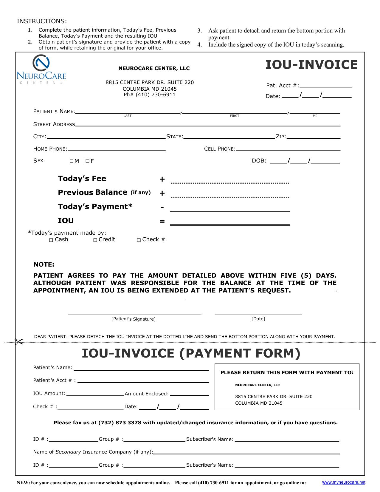 I O U Template Free Printable Documents