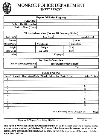 Auto Bill Of Sale Template >> Identity Theft Police Report - Free Printable Documents