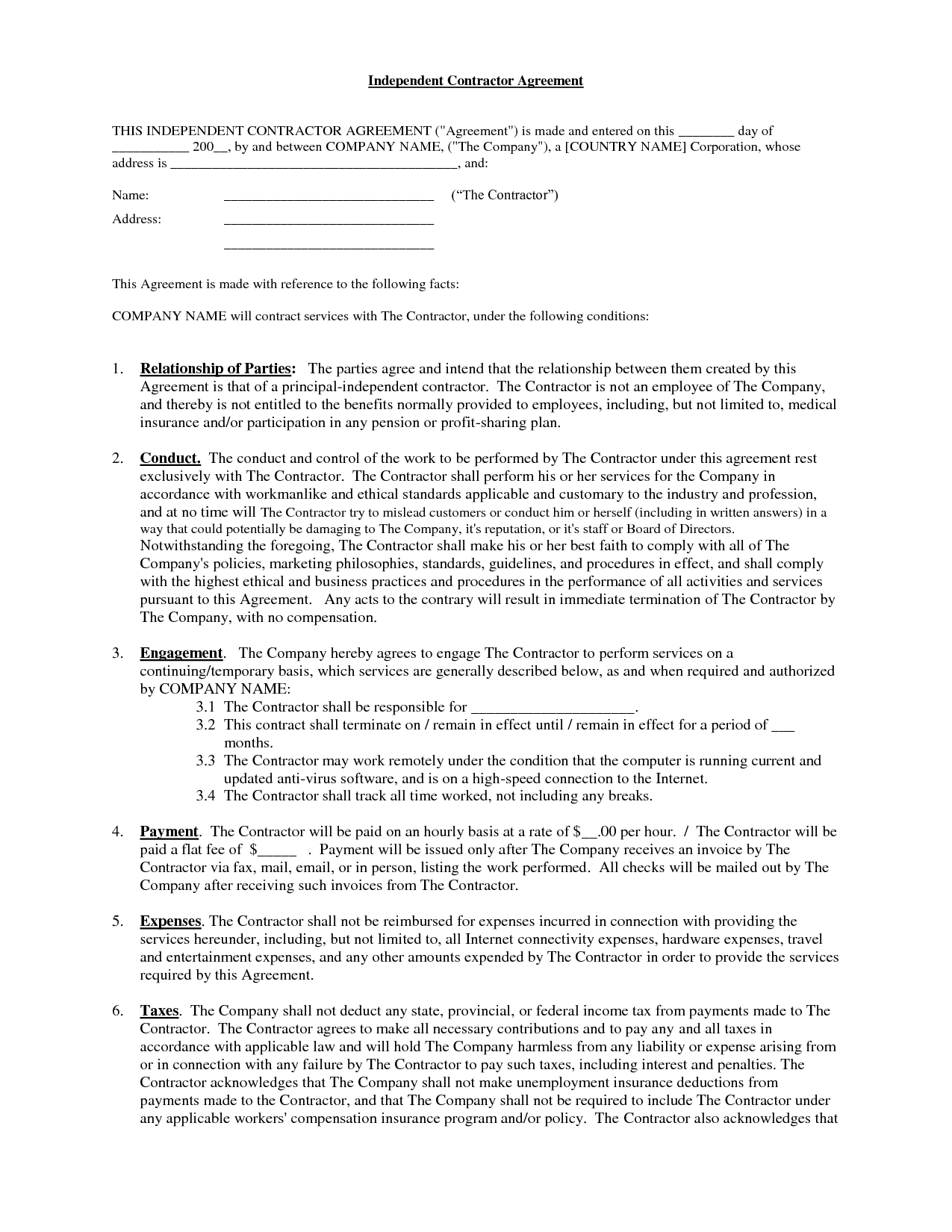 Independent Contractor Contract Sample Free Printable