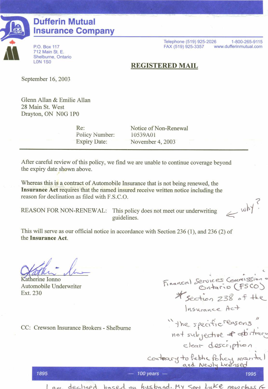 insurance claim denial letter