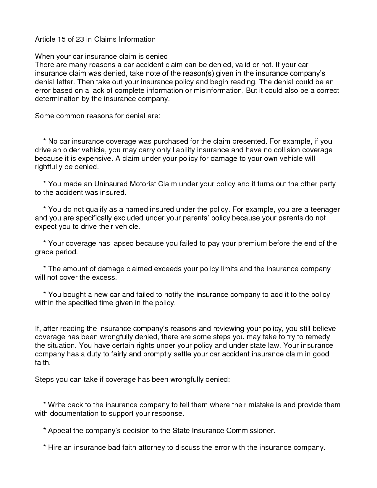 Insurance Claim Denial Letter - Free Printable Documents