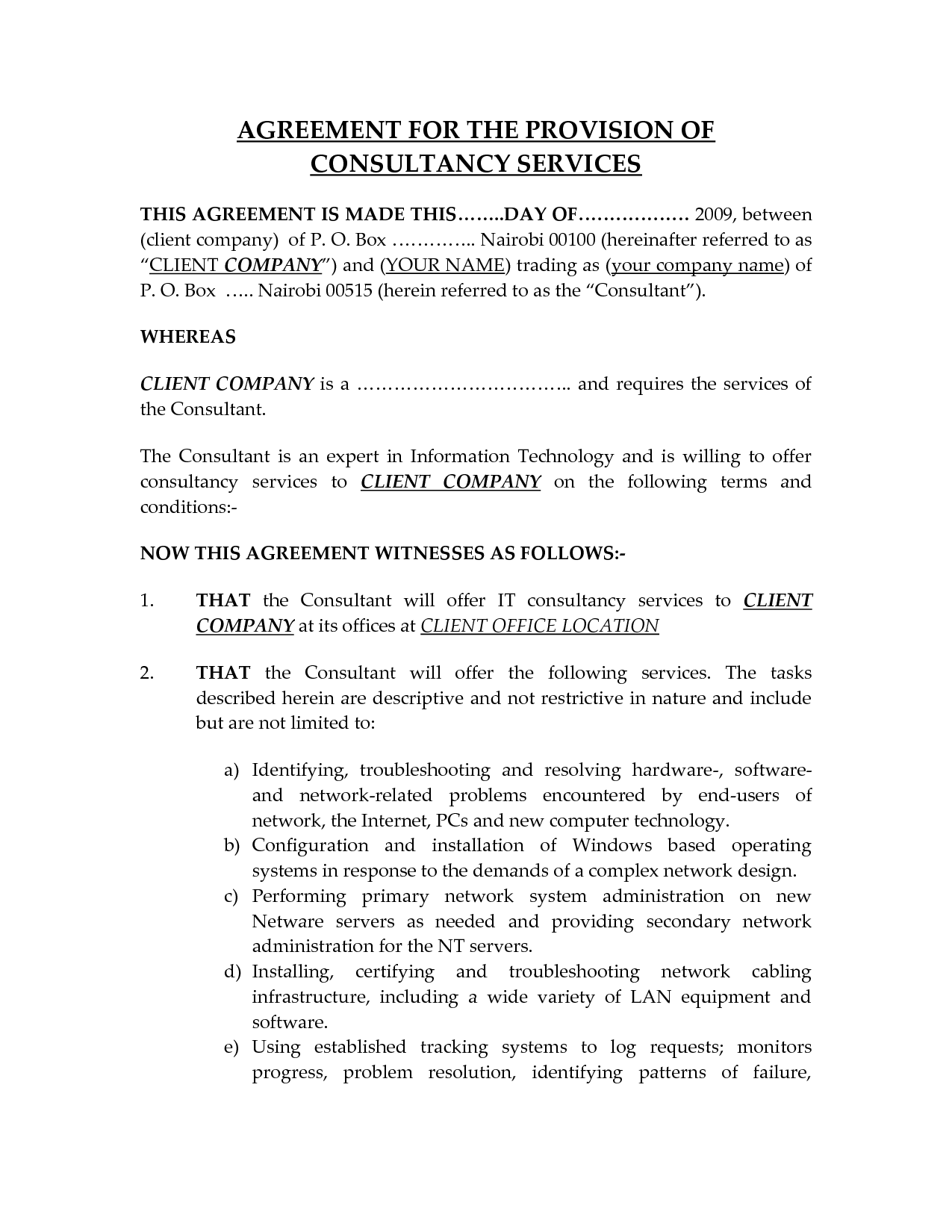 It Consultant Contract Template Free Printable Documents