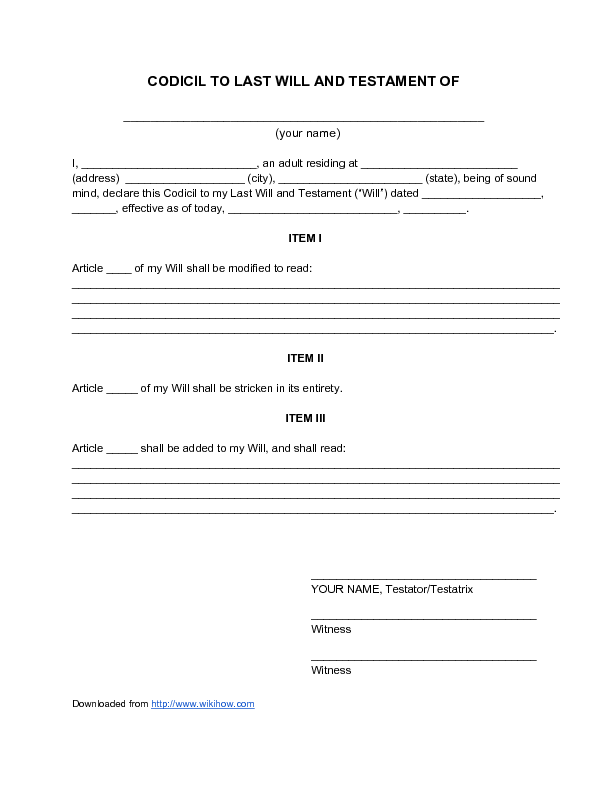 Last will and testament sample free printable documents for Template for wills