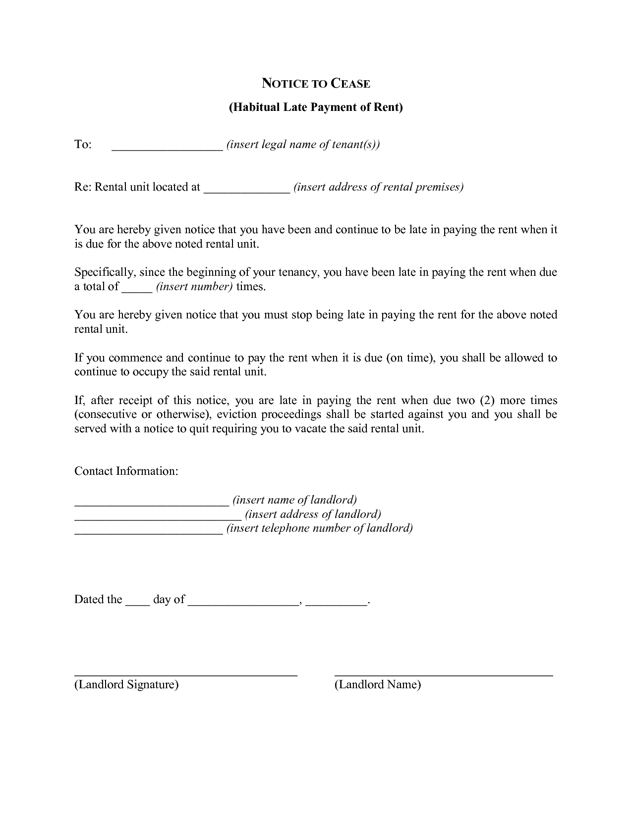 Late Rent Notice Free Printable Documents