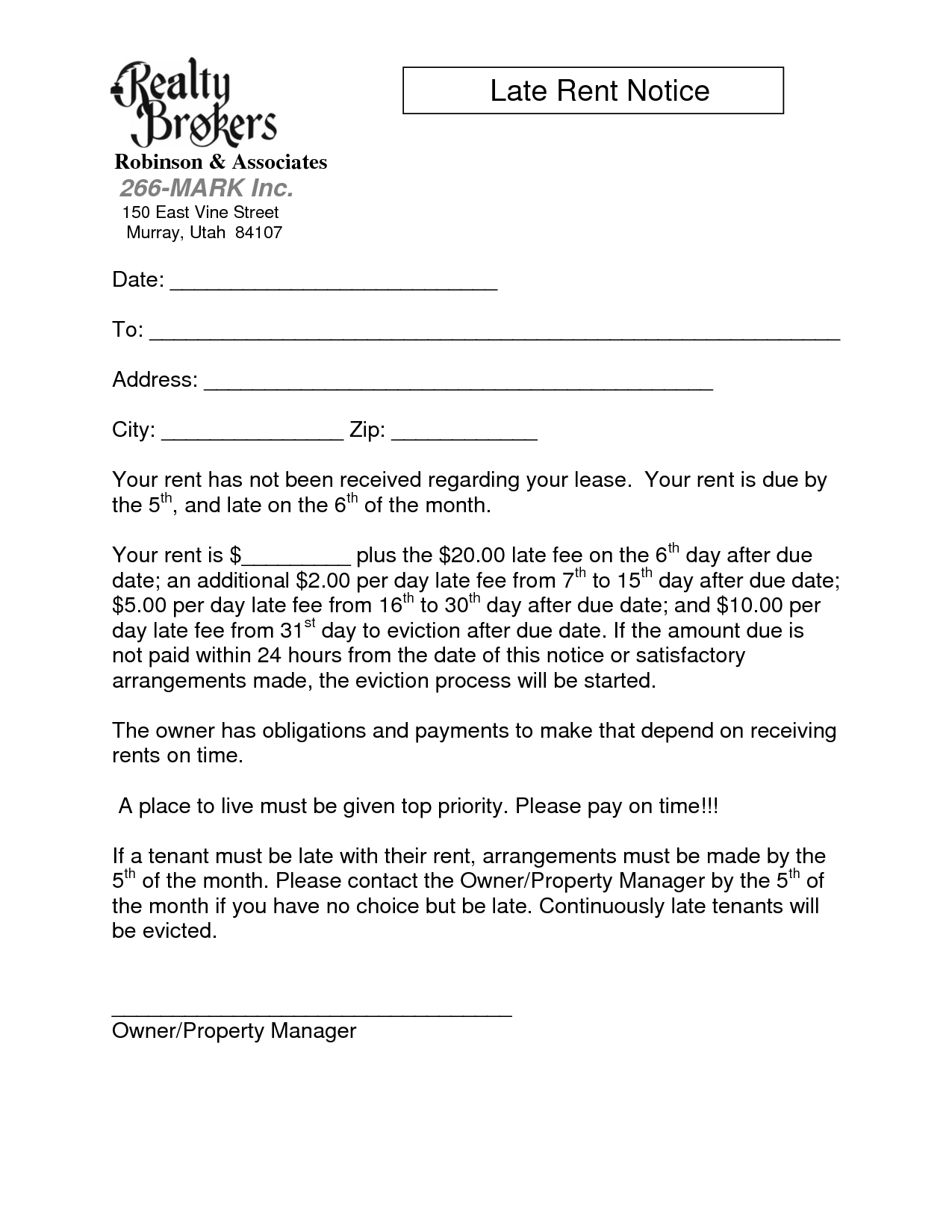 rent notice letter sample