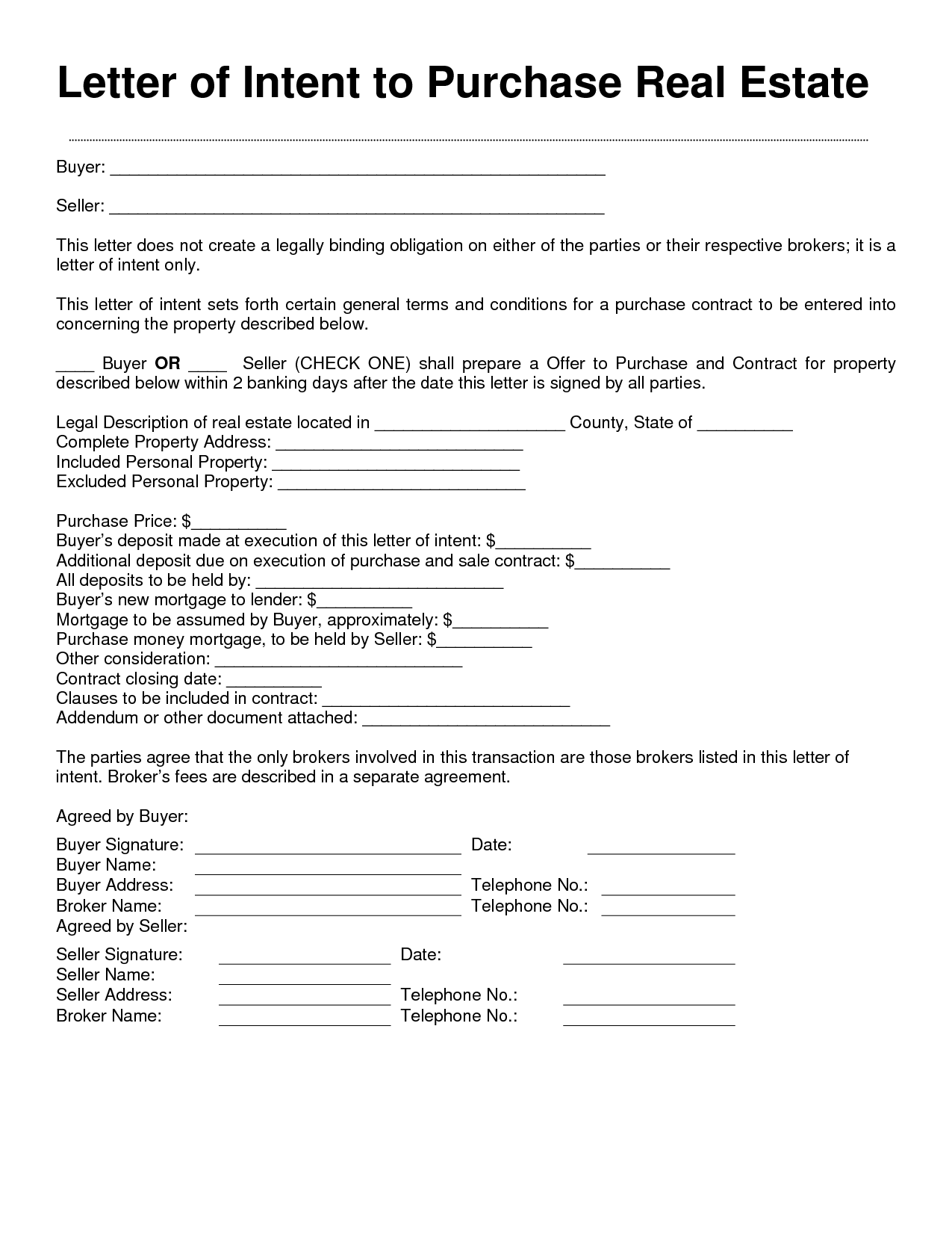 Letter Intent Real Estate Free Printable Documents