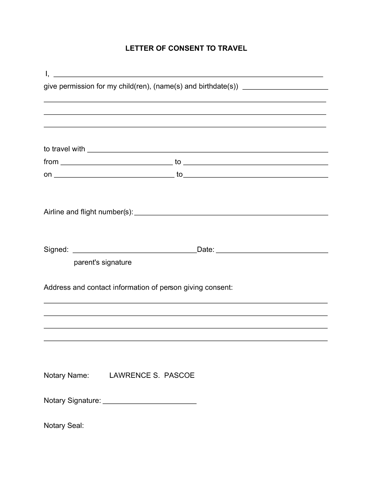 Child Travel Consent Letter Template Uk
