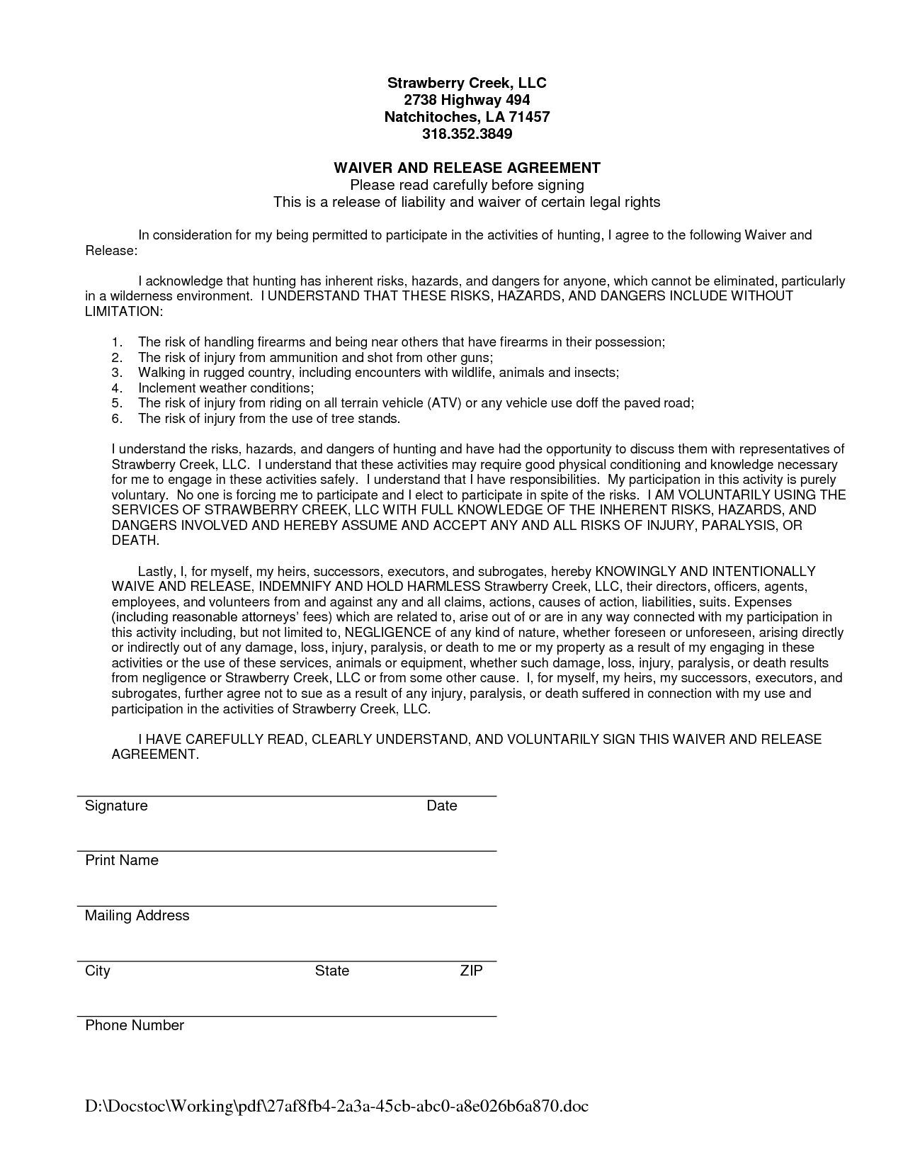 liability waiver form sample