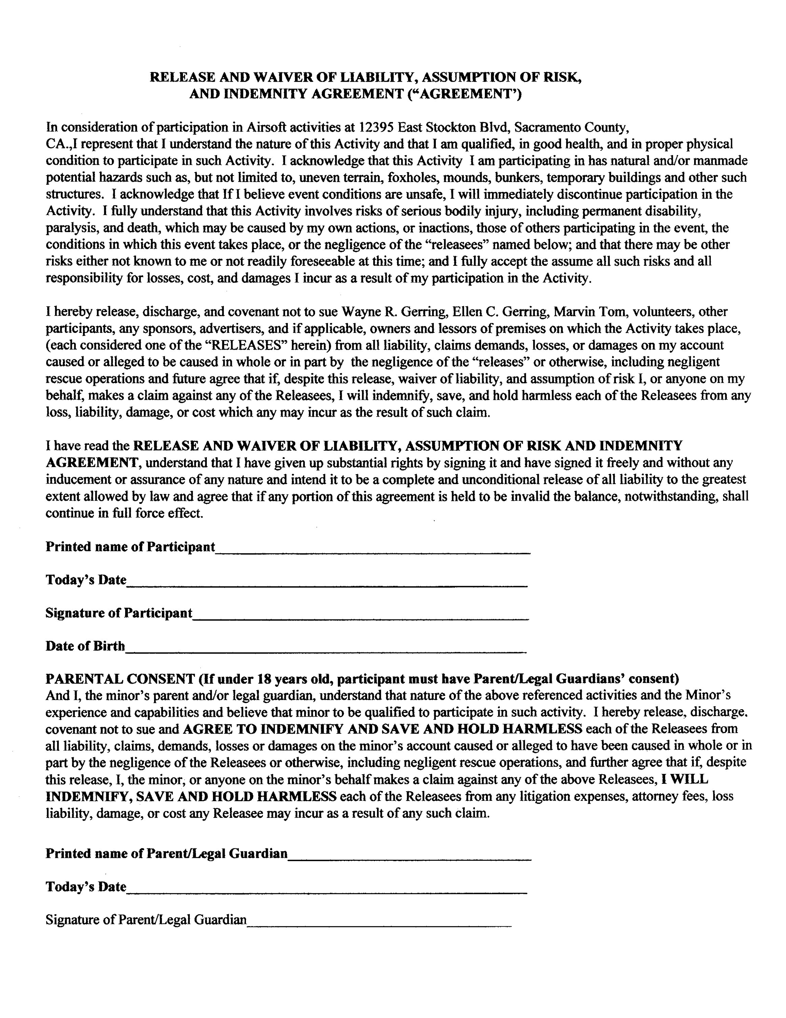 Liability waiver template free printable documents for Participation waiver template