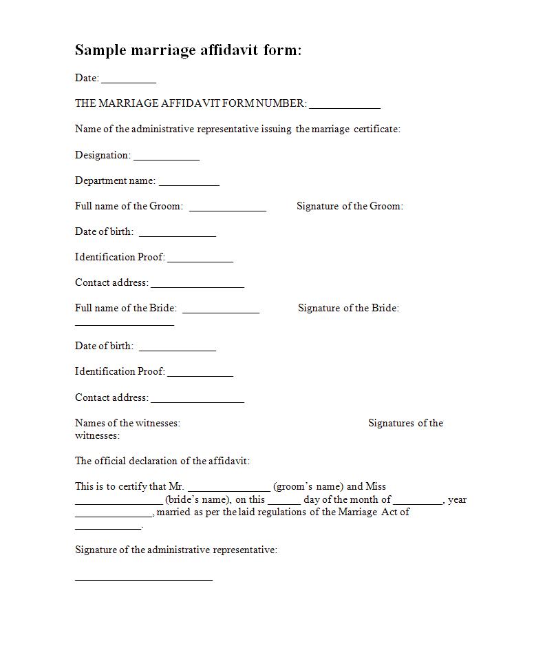 Marriage Affidavit Template