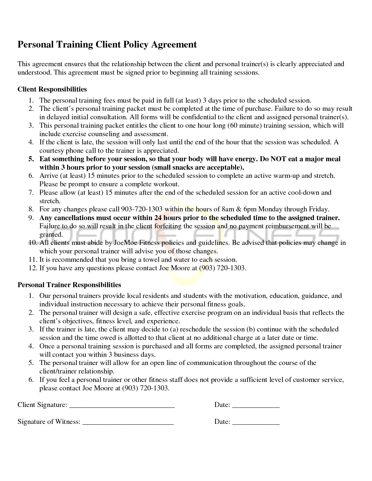 Personal training agreement free printable documents for Personal trainer contract templates