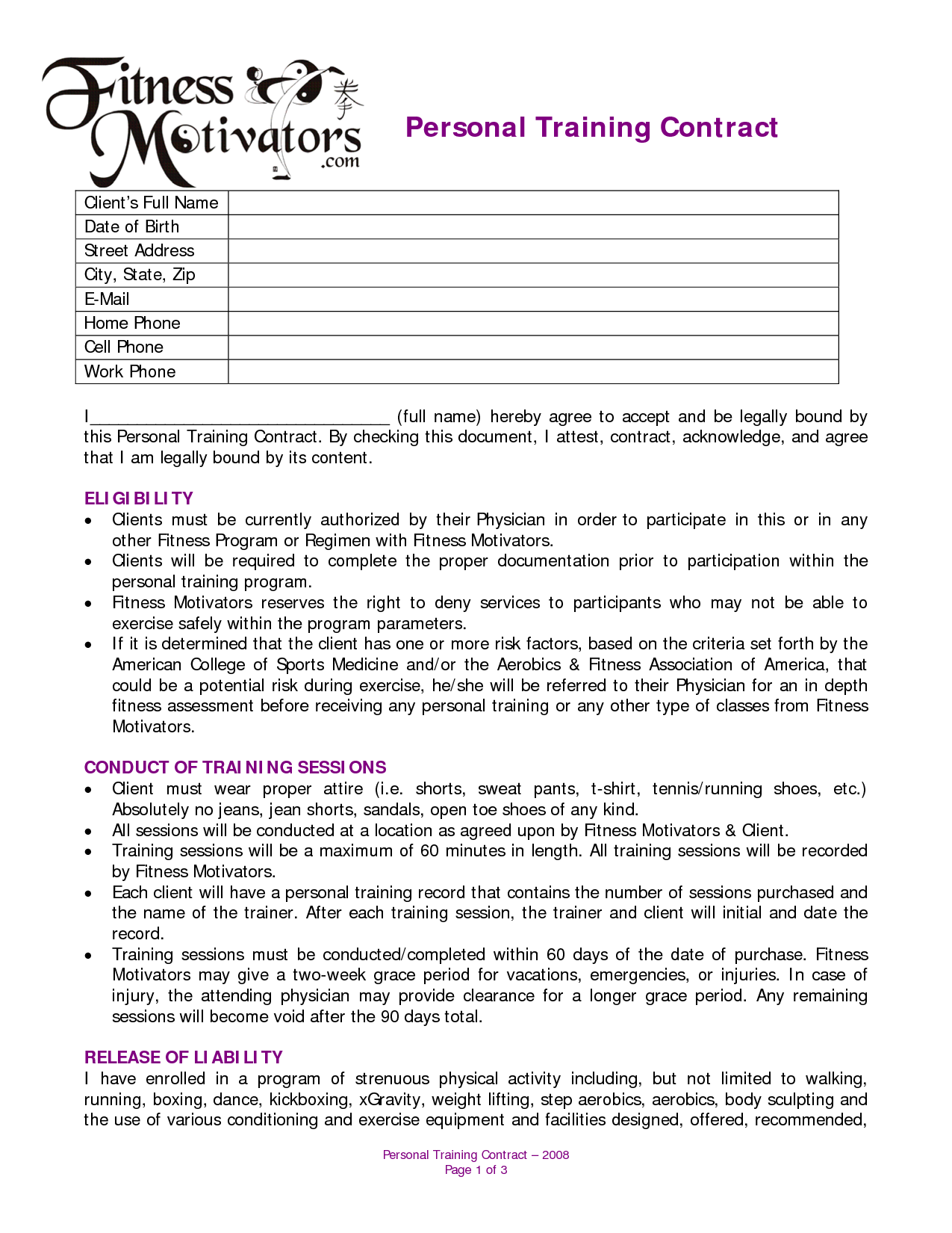 Auto Bill Of Sale Form >> Personal Training Agreement - Free Printable Documents