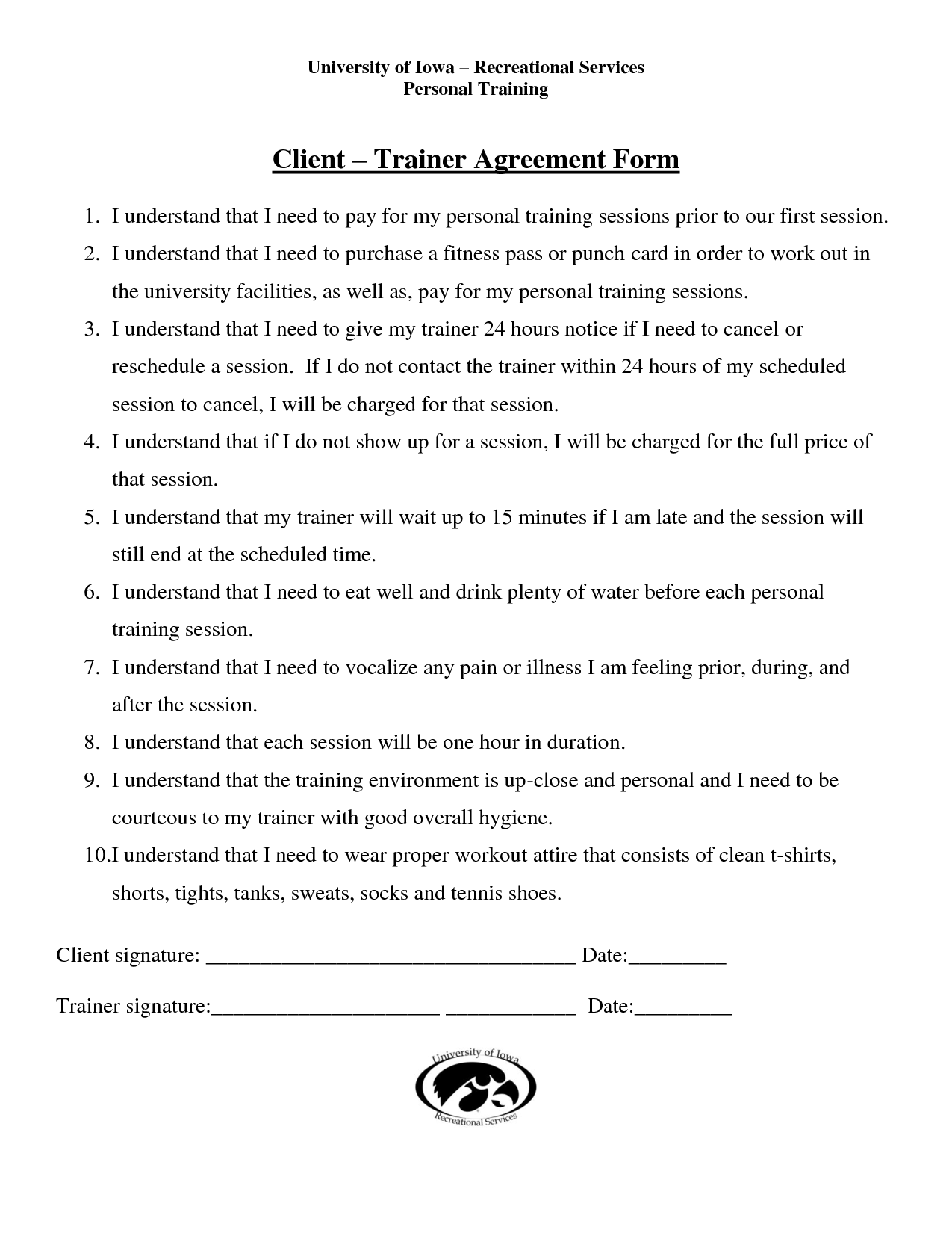 Personal Training Agreement Free Printable Documents