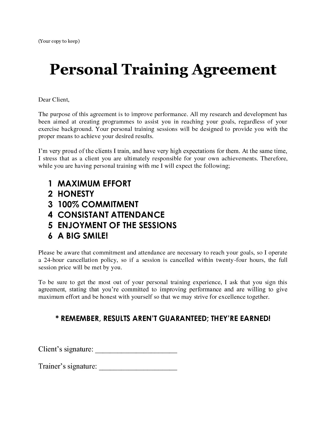 Personal training contract template free printable documents for Personal trainer contract templates