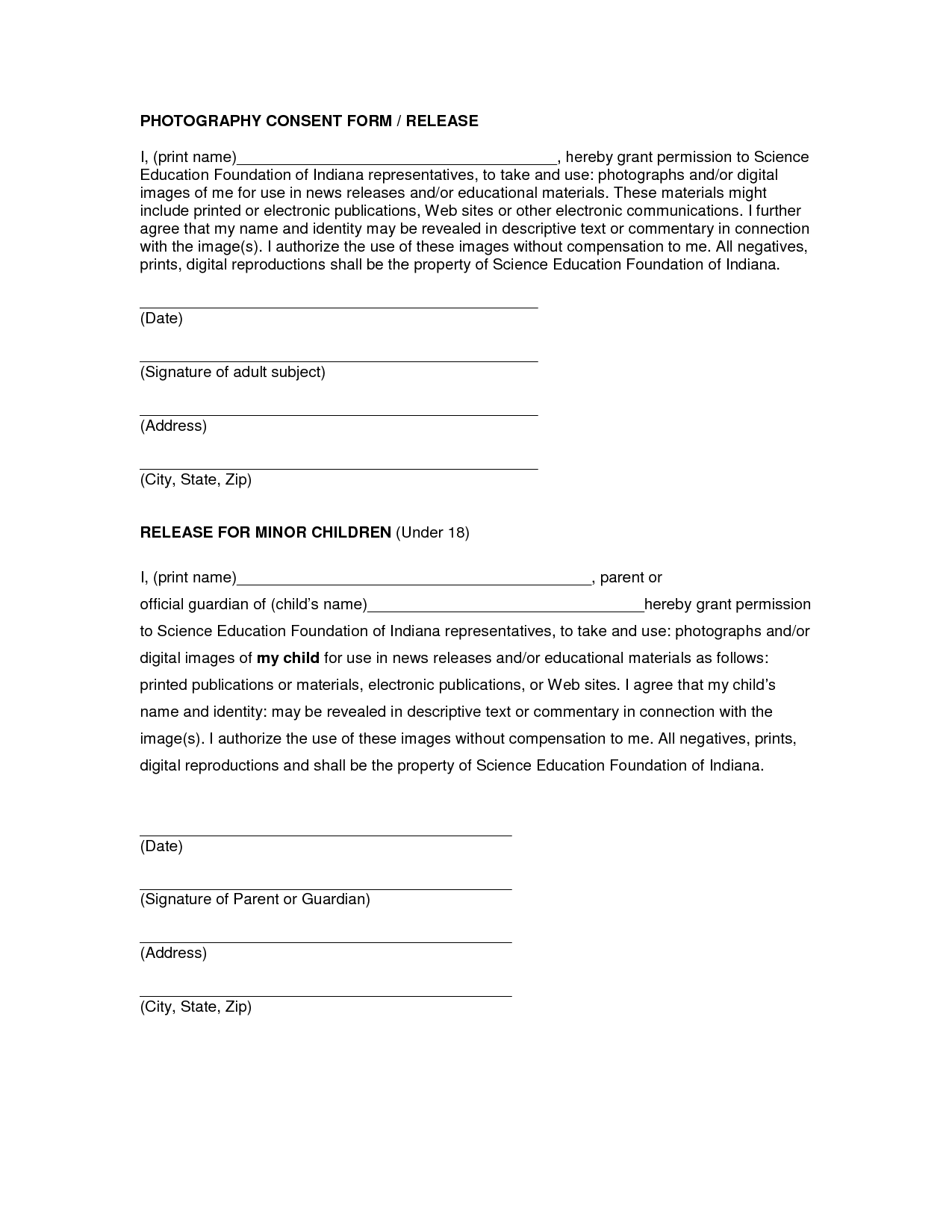 Photo release form template free printable documents for Photographic release form template