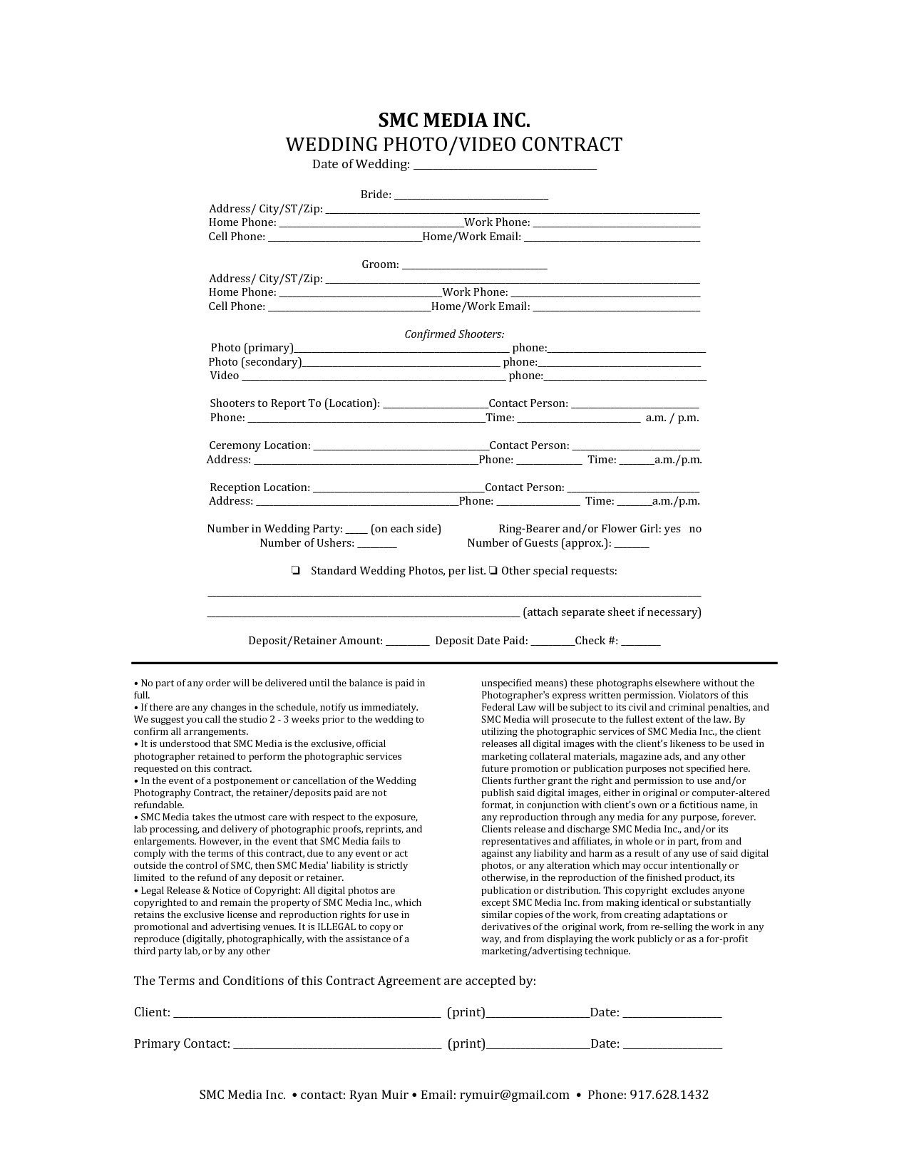 portrait photography contract template free printable
