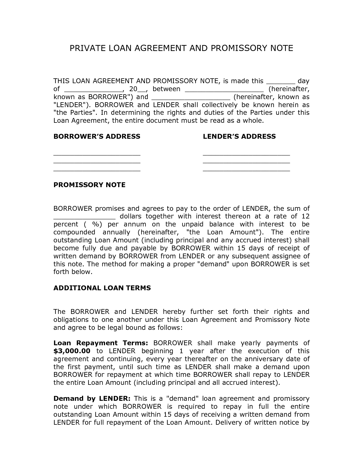 Private Loan Agreement Template Free Free Printable