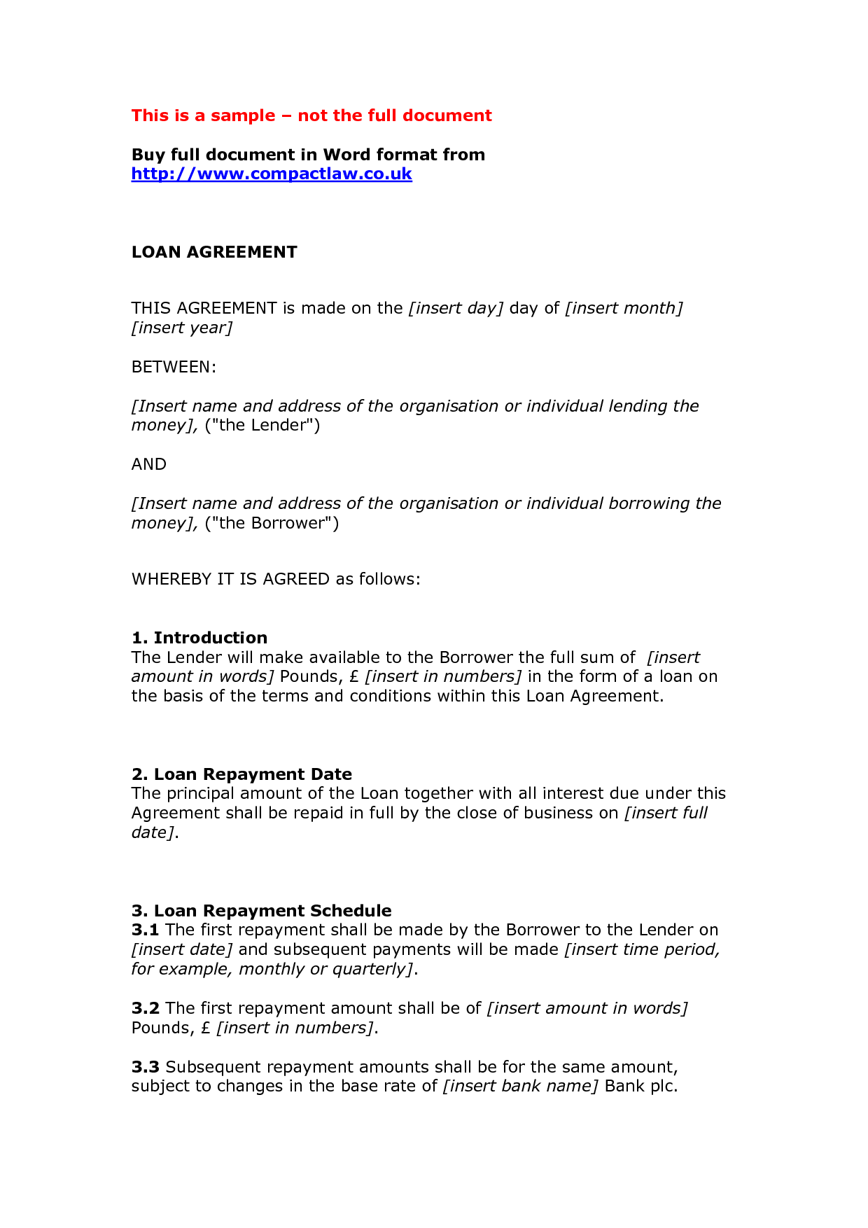 Auto Bill Of Sale Template >> Private Loan Agreement Template Free - Free Printable ...