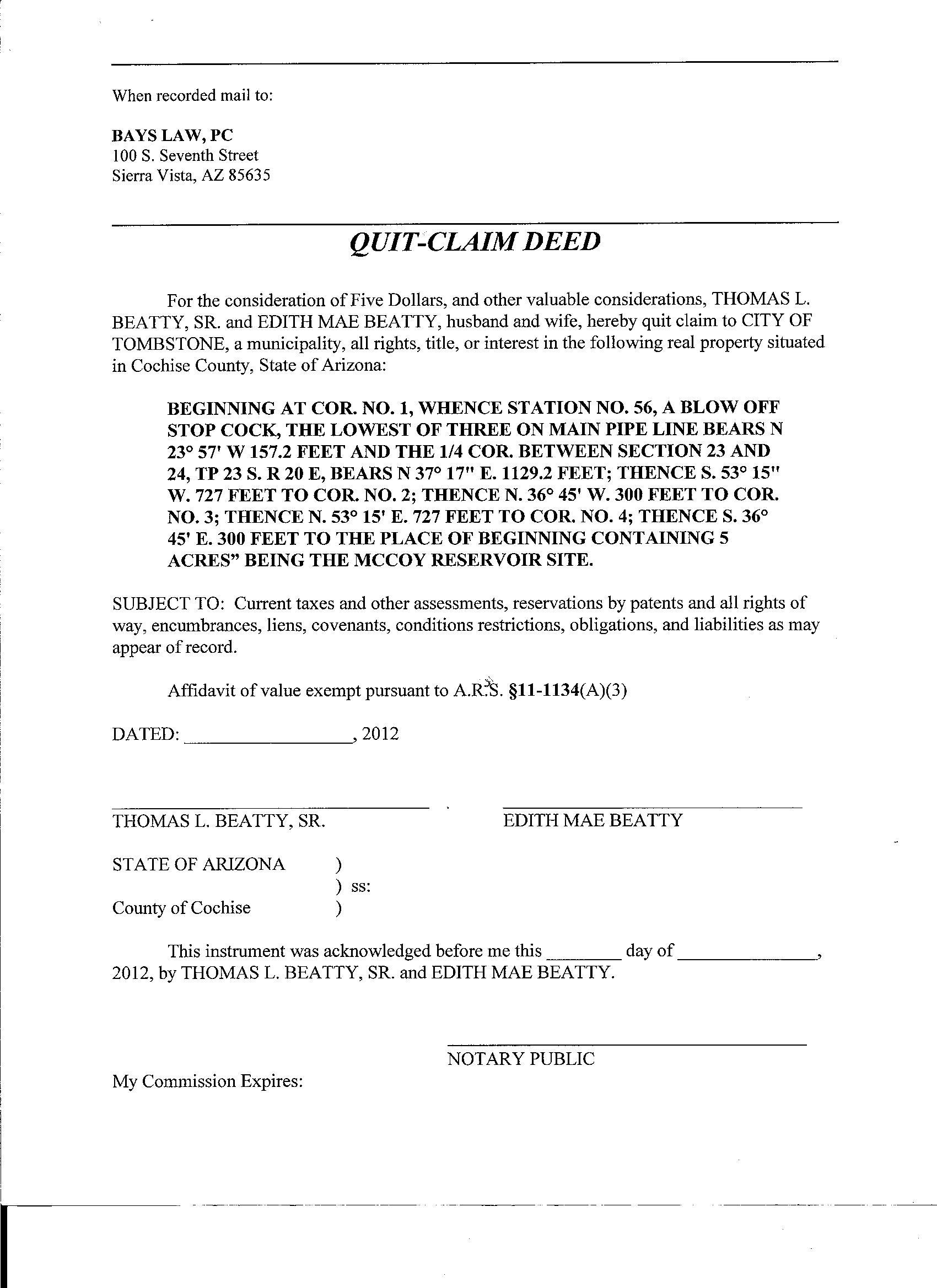 quit claim deed example